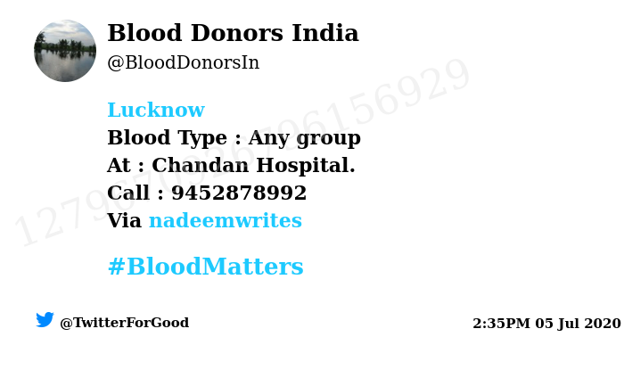 #Lucknow Need #Blood Type :  Any group At : Chandan Hospital.  Number of Units : 1 Primary Number : 9452878992 Secondary Number : 9454644497 Via: @nadeemwrites #BloodMatters Powered by Twitter https://t.co/ZuY3PohhVM