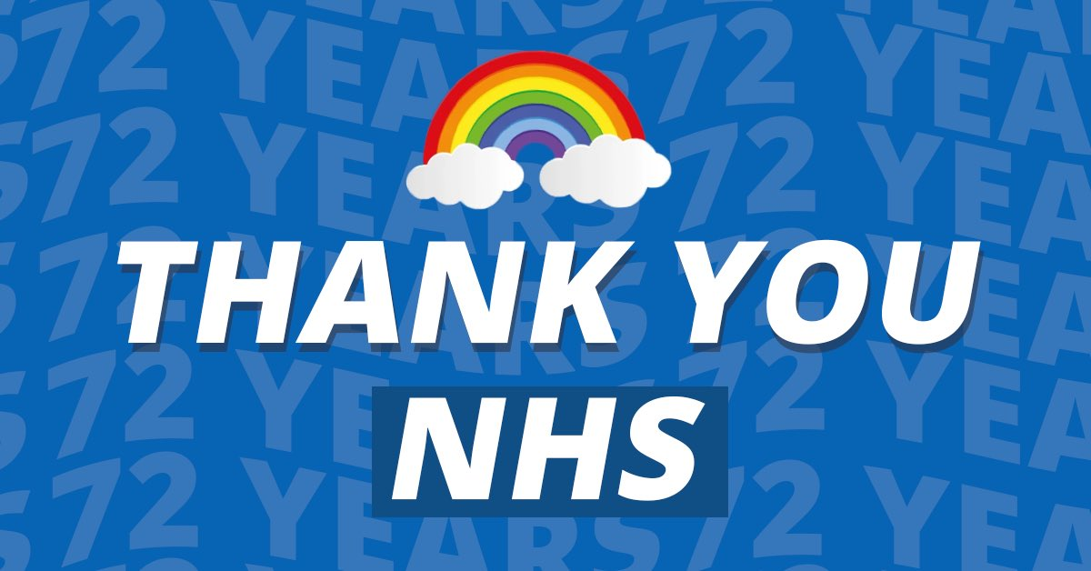 Happy birthday to our NHS. You've been there for me, my family and the nation for 72 years. Thank you to all the amazing NHS staff who have shown during this pandemic, the very best of what they do.💙💙💙 #ThankYouNHS #NHS72