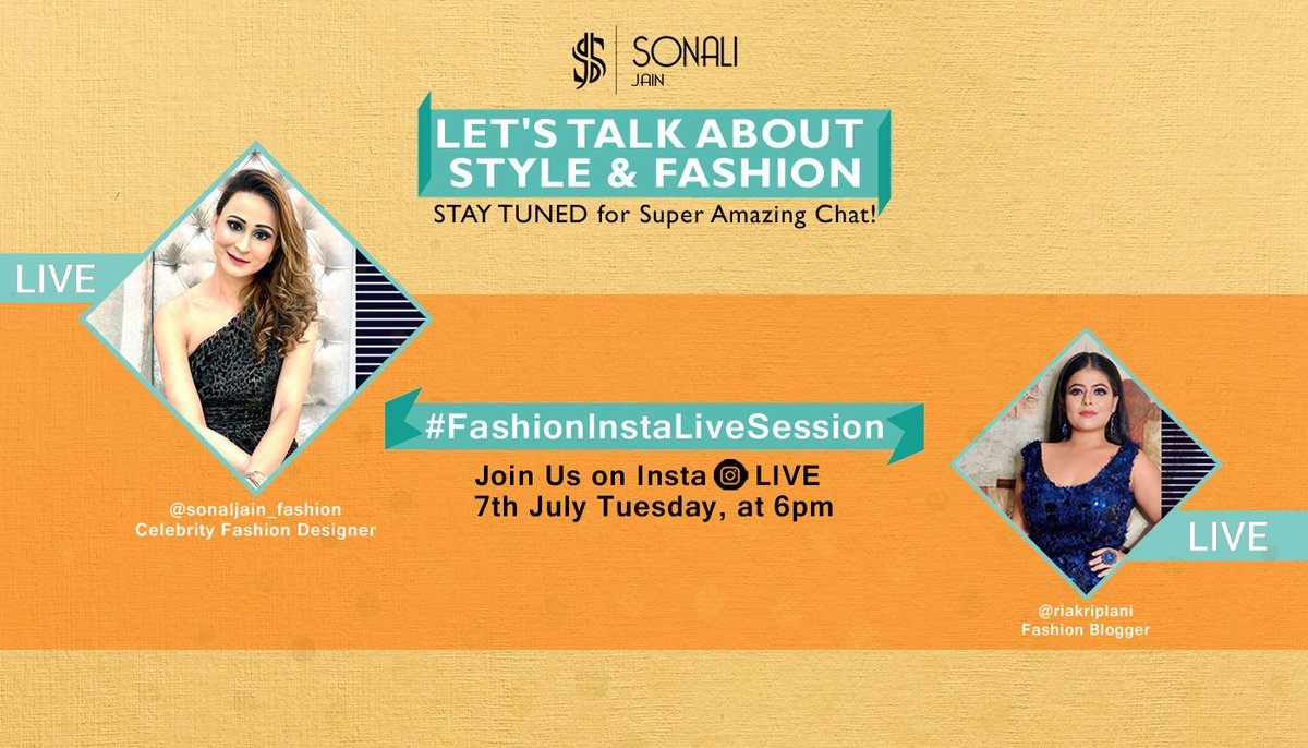 Get your Fashion queries on board as we bring to you a LIVE session.Stay tuned for some very interesting Conversation from @sonalijain_fashion & @riakriplani on 7th July, Tuesday at 6PM. #InstagramLive #InstagramLiveChat #FashionBloggers #FashionStylist #AllAboutFashion #LetsTalkpic.twitter.com/UseVKj9GRJ