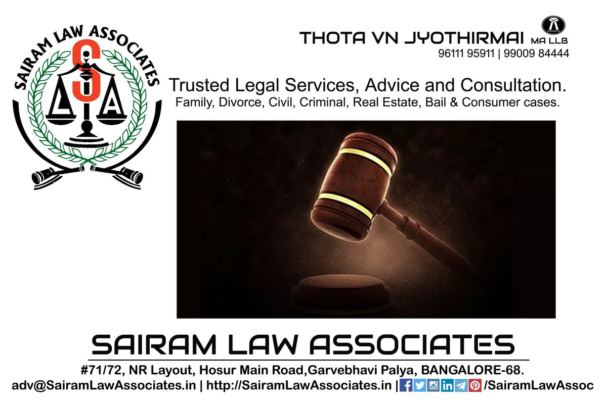 #SairamLawAssociates #LegalServices #Advocate #Lawyer #Family #Divorce #DomesticViolence #RealEstate #Bail #courtmarriage