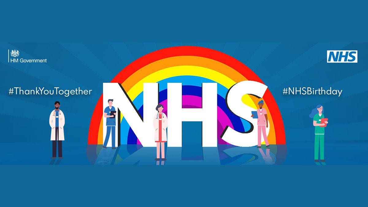 On the 72nd birthday of @NHSuk - est #OTD in 1948, providing 1st class care to our great nation despite the challenges of #COVID19. We'll be saying #ThankYouTogether at 5pm 👏🏼 & a special thanks to those supporting us whilst still putting their hours in with the #NHS #OneTeam https://t.co/09MRjYk3a6