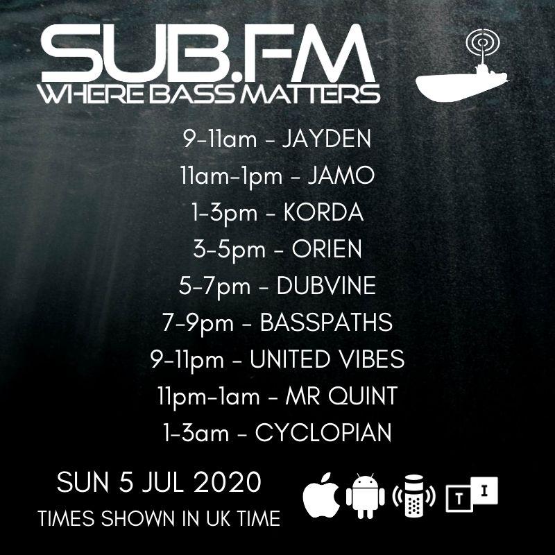 The lineup for Sunday 5th July 2020  https://t.co/NobrdDLSg3  @djorien @dubvine @BASSPATHS @VibezinDJ @amenraLHF  #Dubstep #UKGarage #BassMusic #DnB #Grime #Dub #Reggae #House #Techno #Juke #Bass #Radio https://t.co/pM72fR8gfw