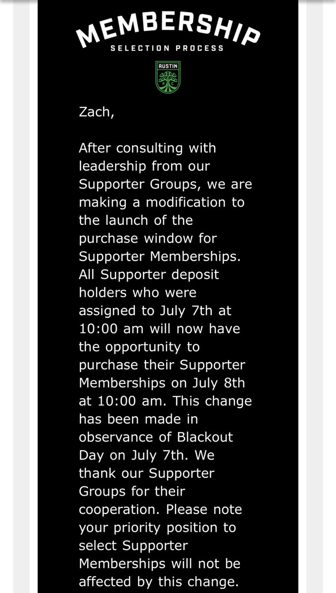 OFFICIAL: @AustinFC pushes back their season ticket membership selection process by one day in observance of #BlackOutTuesday on July 7th after communicating with leadership from different Supporters Groups pic.twitter.com/cTKwPJA2pg