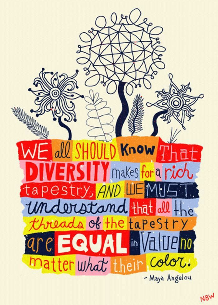 """""""We all should know diversity makes for a rich tapestry & we must understand that all the threads of the tapestry are equal in value no matter what their color."""" Maya Angelou  Pls RT! #rethink_learning  @Shapiro_WTHS @NowakRo @IleneWinokur @MomOfAllCapes @Hedreich @MatthewXJoseph"""