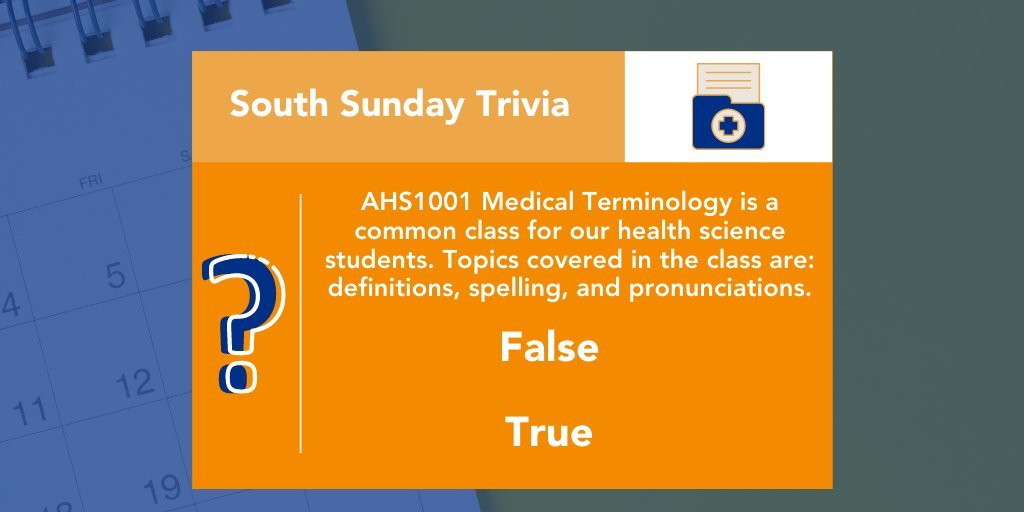 Course, AHS1001 - Medical Terminology is a common class taken for our health science students. True or False - Topics covered in the class are: definitions, spelling, and pronunciations. Tell us your guess in the comments!  #SouthSundayTrivia #MedicalTerminology <br>http://pic.twitter.com/fvcQMkR7Vq