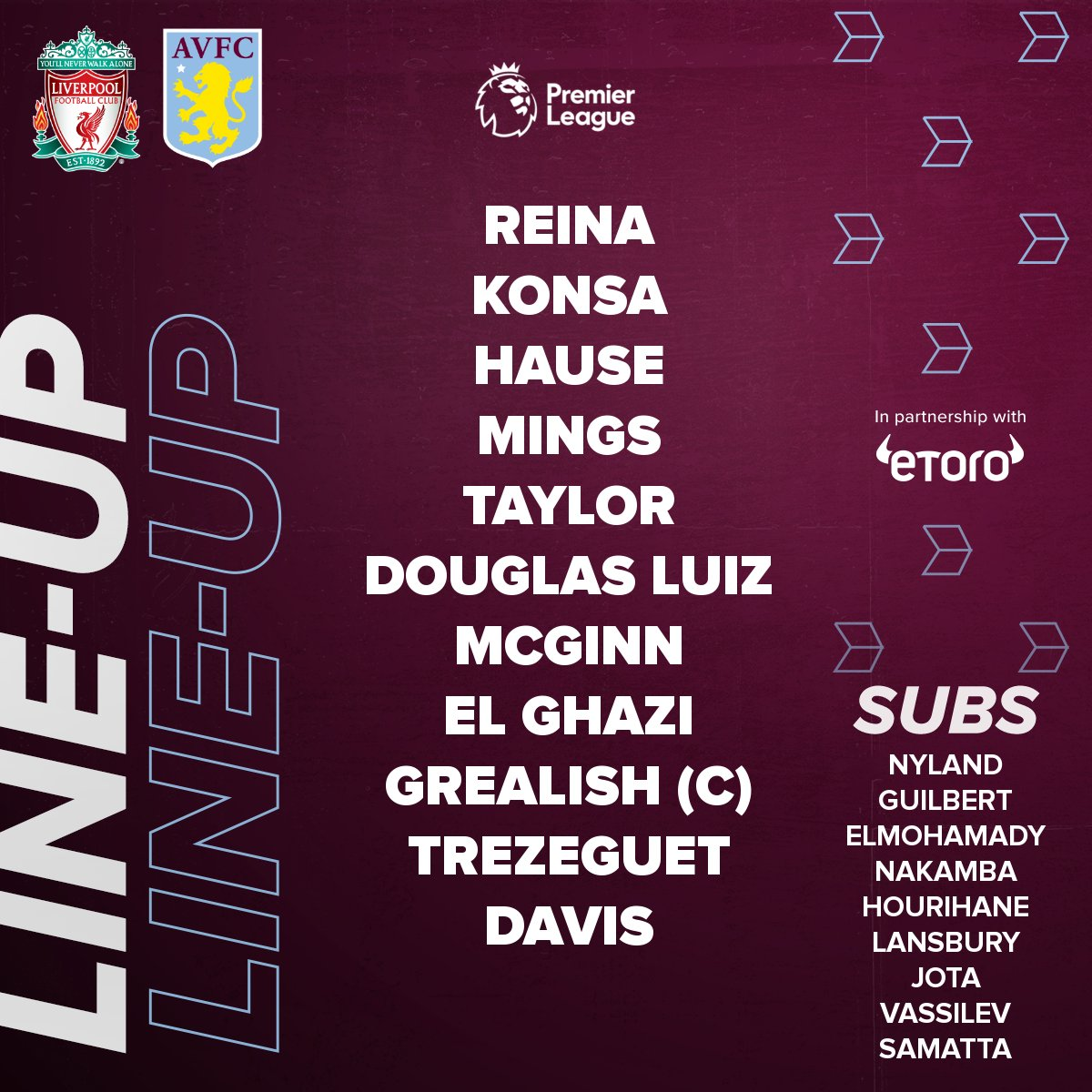 This is how Aston Villa line up at Anfield this afternoon. 🟣  Presented by @eToro.  #LIVAVL #AVFC https://t.co/belFqwrytl