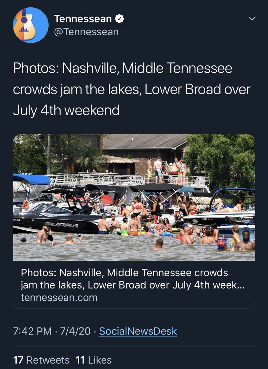 """@Tennessean  In case you were wondering which way the @Tennessean leans.  Patriots celebrating """"JAM"""" the lakes.  But those peaceful """"demonstrators gather"""" and all is well. Fakes and phonies. #NashvilleProtest #coronavirus #Happy4thofJulypic.twitter.com/9s2NgcvuHe"""