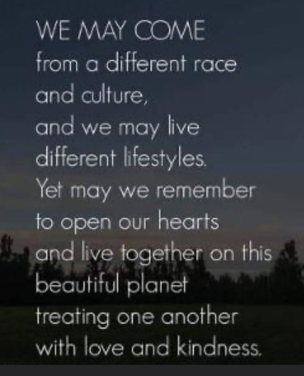 We may come from a different race and culture, and we may live different lifestyles, yet remember to open our hearts and live together on this beautiful planet treating each other with love and kindness. #Love #KindnesMatters #Understanding #Inspiration #ThinkBIGSundayWithMarsha
