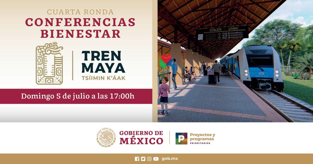 ¡Continúan las #ConferenciasBienestar! Hoy informaremos los avances de uno de los #ProgramasPrioritarios del @GobiernoMX, el @TrenMayaMX. 👉 17:00 hrs. Nos acompaña @TorrucoTurismo y Rogelio Jiménez, titulares de @SECTUR_mx y del @FonaturMX. #ProgramasBienestar