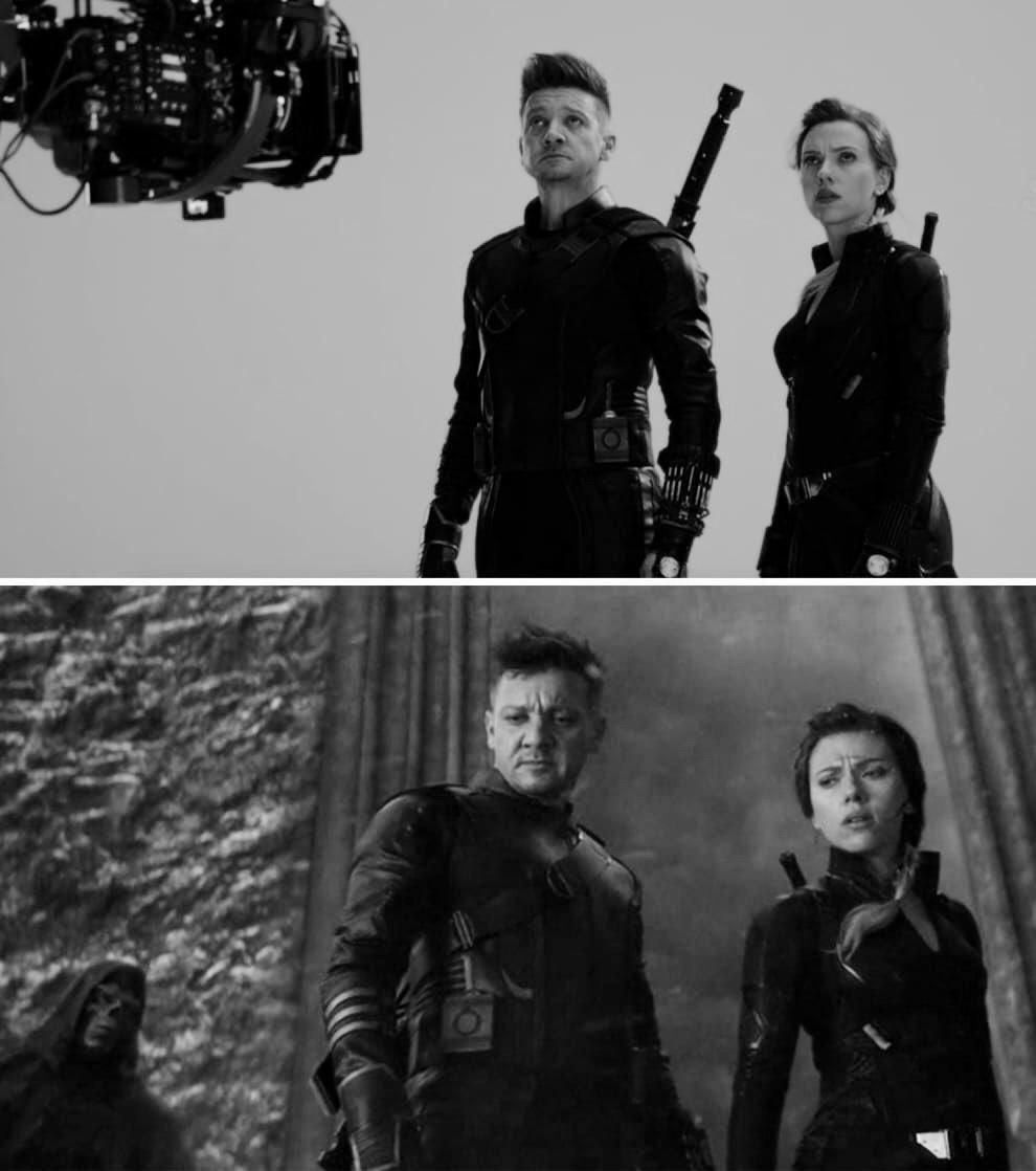 AVENGERS ENDGAME BTS • Scarlett Johansson and Jeremy Renner on set filming the Vormir scene 💔⠀⠀⠀⠀⠀ ⠀⠀⠀⠀⠀⠀⠀⠀⠀ #btssunday #bts #scarlettjohansson #blackwidow #blackwidowmovie #endgame #avengerendgame #clintasha