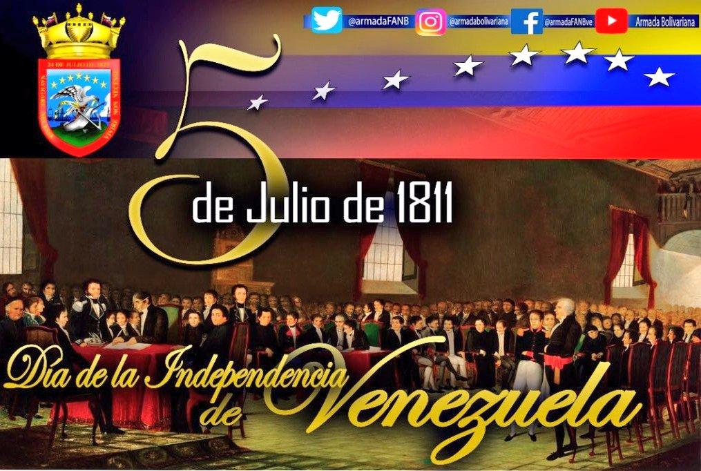 #5Julio | El @AB_BIM42  conmemora 209 de la Firma de Declaración de la Independencia en Venezuela, proceso emancipador que rompe los lazos coloniales que existían entre la Capitania General de Venezuela con el Imperio Español @NicolasMaduro @vladimirpadrino @ArmadaFANB @AB_BRIM4 https://t.co/MBPvdZYNfU