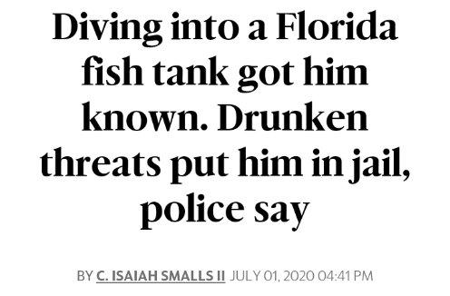 Diving into a #Florida fish tank got him known. #Drunken threats put him in jail #FloridaMan #Florida #FlorodaManNewspic.twitter.com/p5uMK4i41U