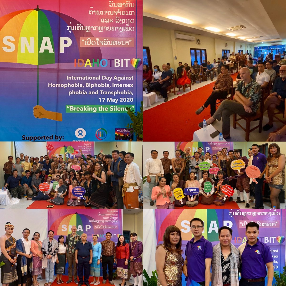 """@Proudtobeuslaos is delighted to jointly organise the first ever #IDAHOBIT Day 2020 in Luang Prabang with CHIAS.  This is a part of """"Strengthening Networks and Advocating for the Promotion of LGBTI Rights"""" Project supported by @Oxfam in Laos.  @CortadaFranc of @OxfamIntermon https://t.co/EUqW4PAFcM"""