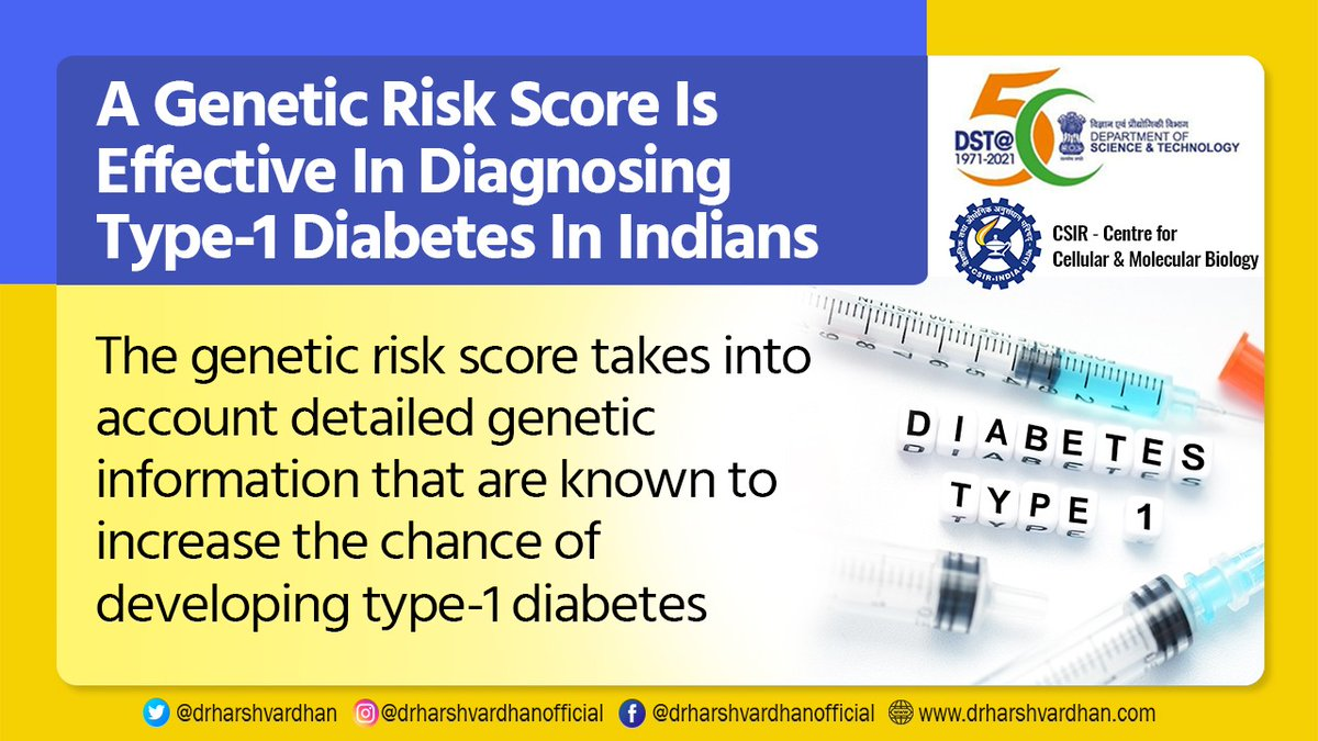 Researchers at CSIR-Centre for Cellular and Molecular Biology, Hyderabad; KEM Hospital & Research Centre, Pune & @UniofExeter have found that a genetic risk score is effective in diagnosing type-1 #diabetes in Indians. @ccmb_csir @IndiaDST @CSIR_IND
