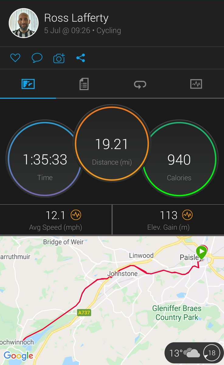 Back to the exercise after four weeks injured. Just a leisurely cycle down to Castle Semple today. Absolutely drenched but felt good to get outside and get moving again pic.twitter.com/Iu6FwwfysV