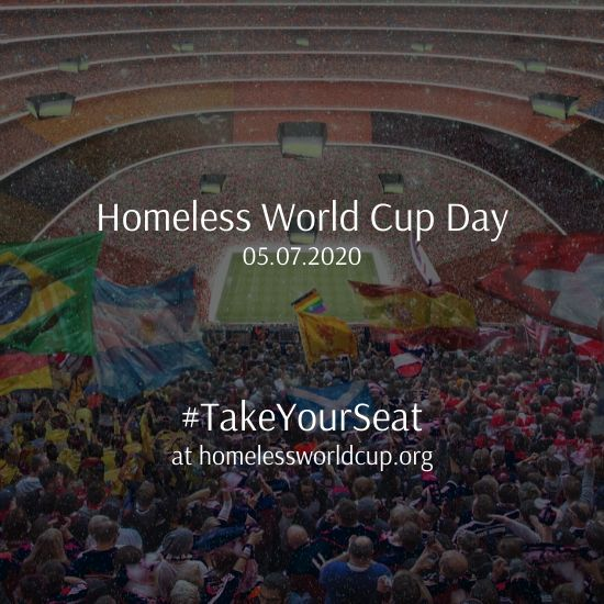 Join us at 1pm BST for the first ever Homeless World Cup Day!  #TakeYourSeat at https://t.co/bCCIv1oflo now! https://t.co/sbMbMmNPsx