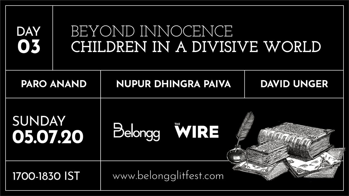 Starting at 5 pm at #BOLF2020: Track 1: Children in a Divisive World w/ @ParoAnand, Nupur Dhingra Paiva & David Unger, moderated by @ShranyaGambhir Track 2: Of Wives, Mothers, & Others w/ @iamsamrazafar, @derrindo, Amrita Nandy & @kalpana1947, moderated by @therealnaomib