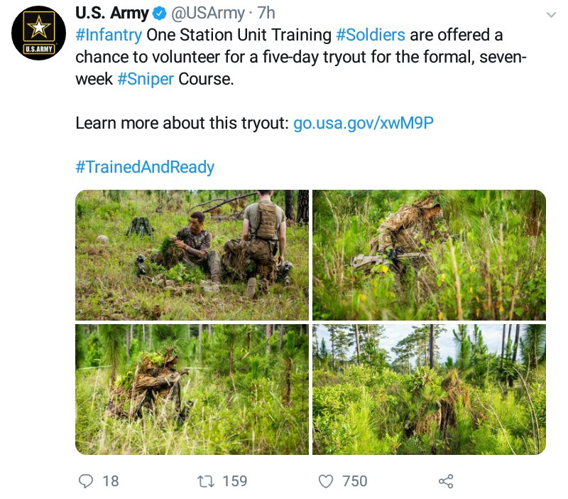 Ejército de #EEUU ofrece curso de francotirador de 7 semanas. En el país donde más abundan las armas en poder de la población, ¿qué consecuencias tendrá esa medida? https://t.co/4ApBqYdWvf