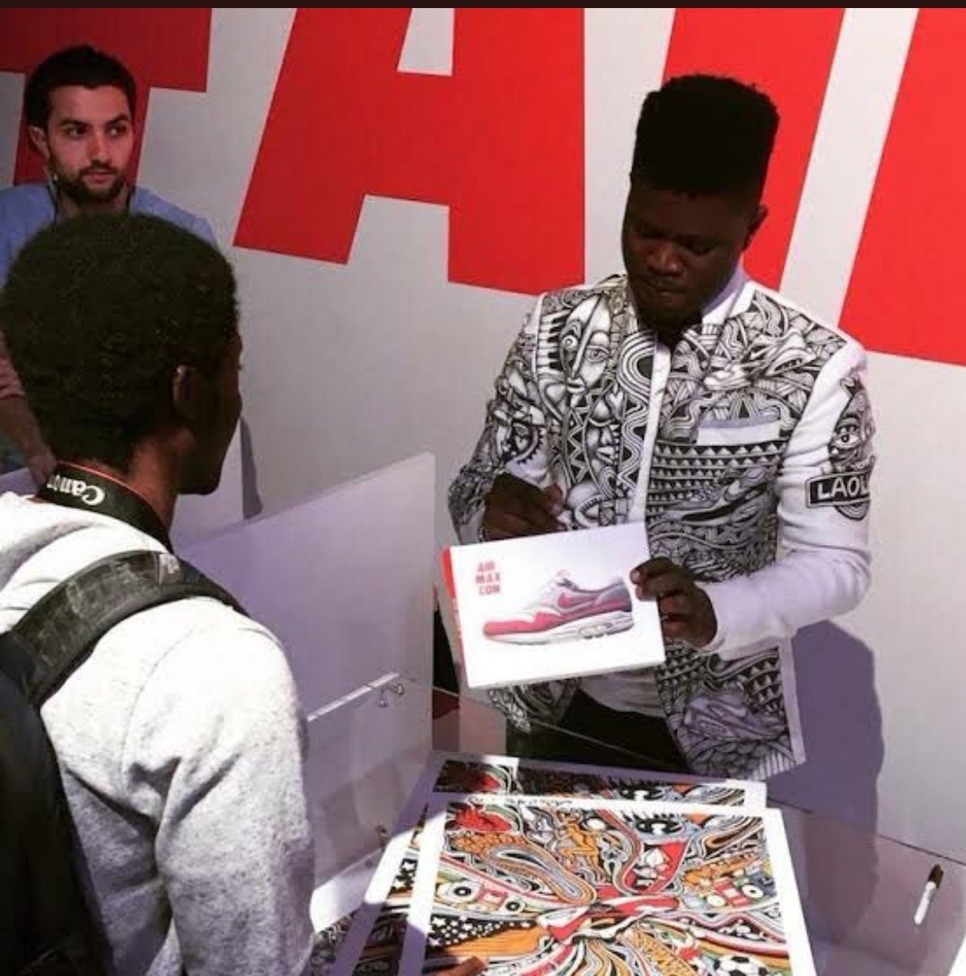 Meet Laolu Senbanjo, a graduate of  University of Ilorin, he was hired by Nike in New York to design shoes as a virtual artist. Laolu is the brain behind these popular Nike's Air Max shoes with African art on them. https://t.co/iUioR8Rkmc