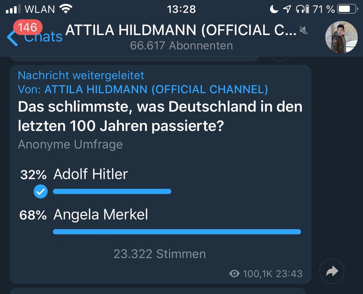 "#Hitler, #Merkel, #Diktatur … was die #Attilanten (#AttilaHildmann-Jünger) so ""denken"". 🙈🙄🤦♂️ https://t.co/FzZ0qJH4tx"