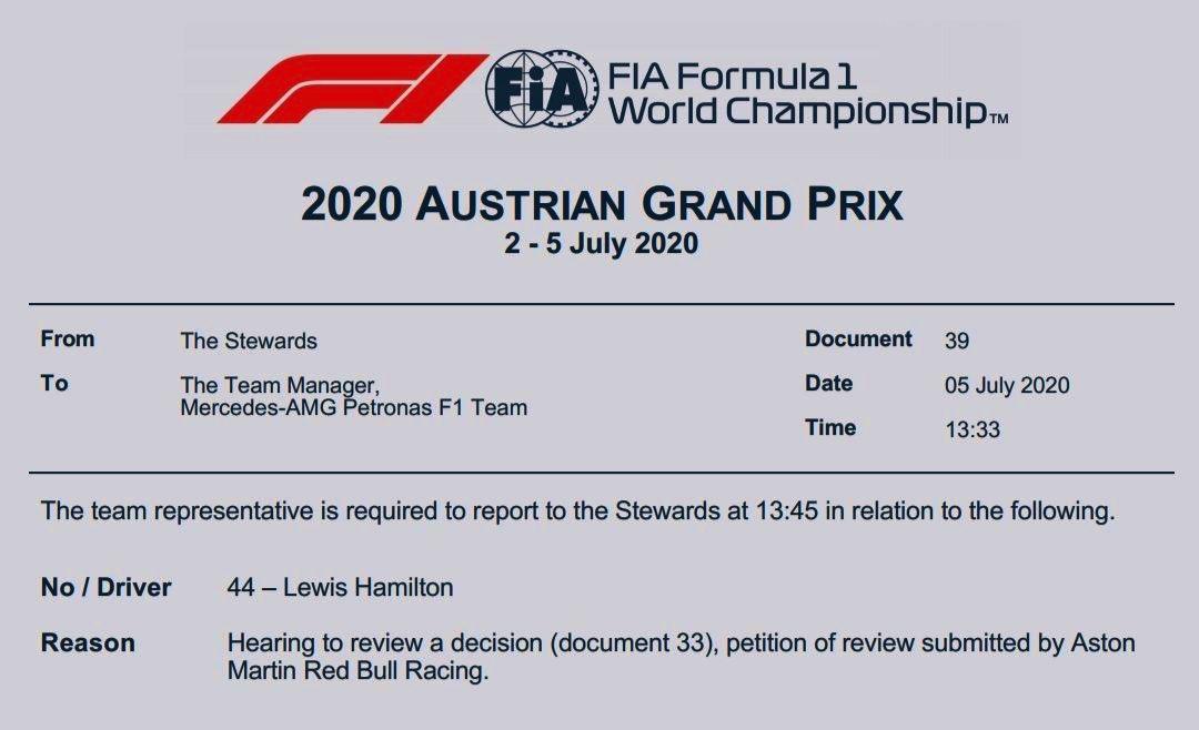 Lewis Hamilton called to the stewards #austriangp #skyf1 https://t.co/DxlhNYZt1Q