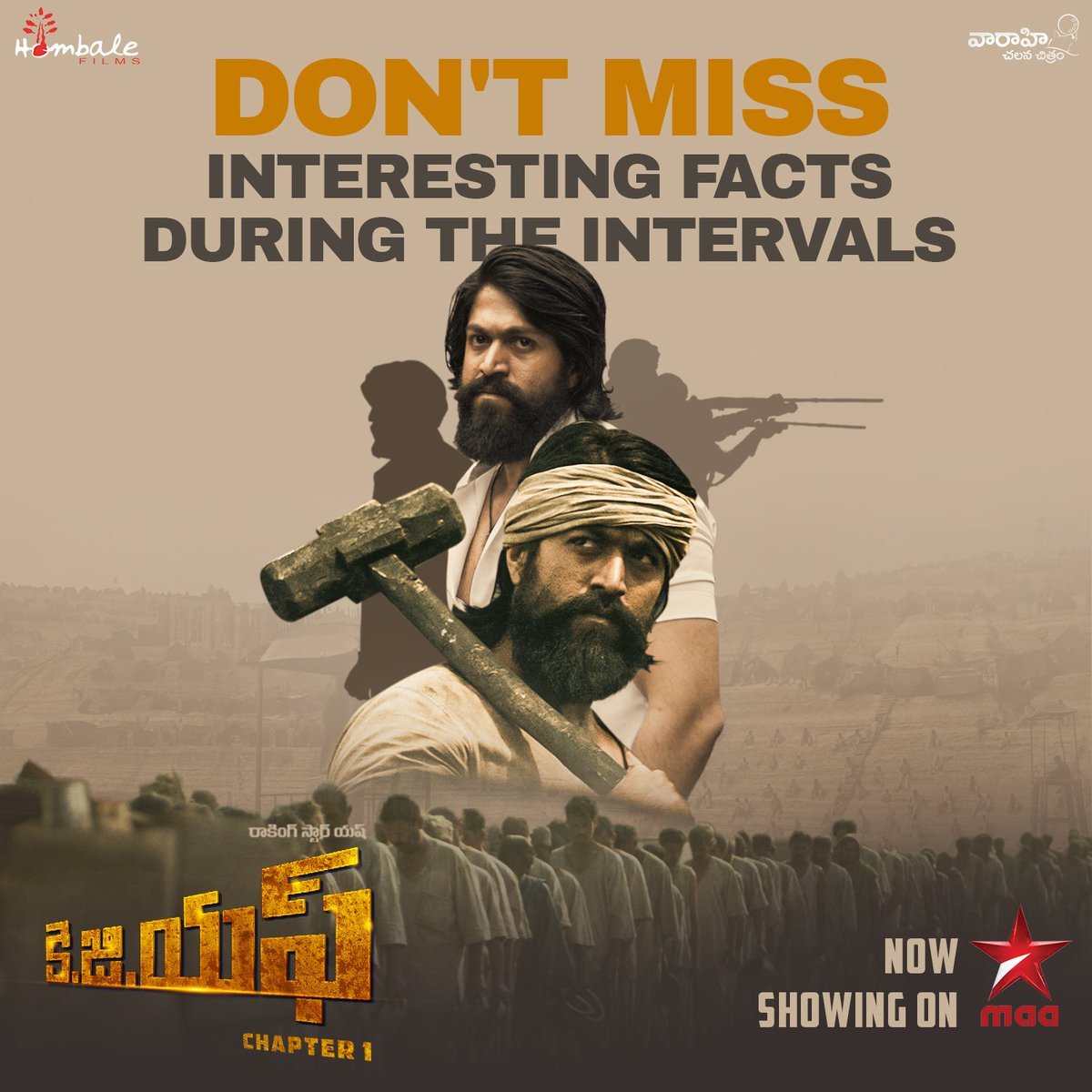 For interesting facts & trivia during the breaks, Watch #KGFChapter1 Telugu World TV Premiere, Now Playing on @StarMaa ♥️  Click a pic when your favourite scene is on and post it using #KGFOnStarMaa 😍  @TheNameIsYash @prashanth_neel @VKiragandur @hombalefilms @VaaraahiCC https://t.co/ImSsnRLsLm