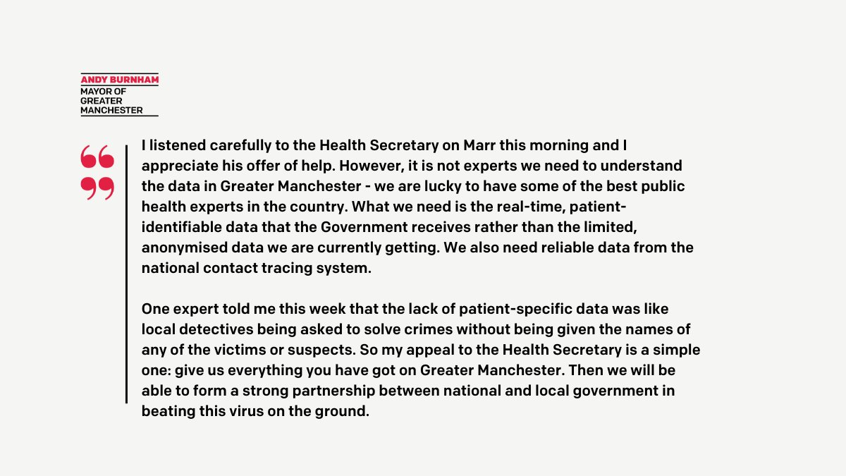 🗣️ Responding to @MattHancock on #Marr this morning Andy says: What we need is the real-time, patient-identifiable data that the Government receives rather than the limited, anonymised data we are currently getting Read the full response here 👇