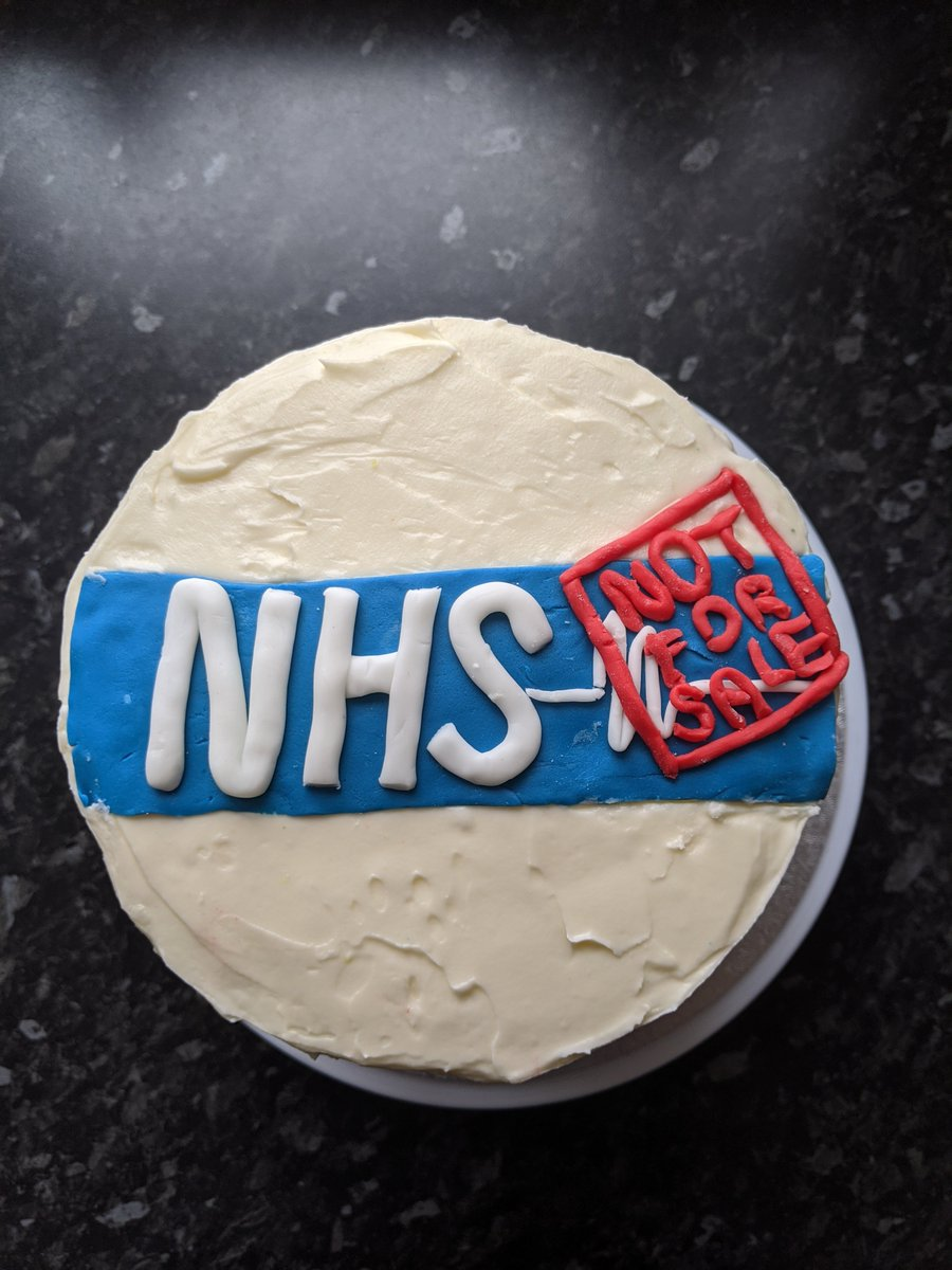 As the NHS turns 72 today, people across the country have been baking beautiful cakes to celebrate. This baker has a clear message - the NHS is NOT FOR SALE. Lets give the NHS a birthday present it deserves - an end to privatisation. #NHSBirthday #RebuildtheNHS #BuidBackBetter