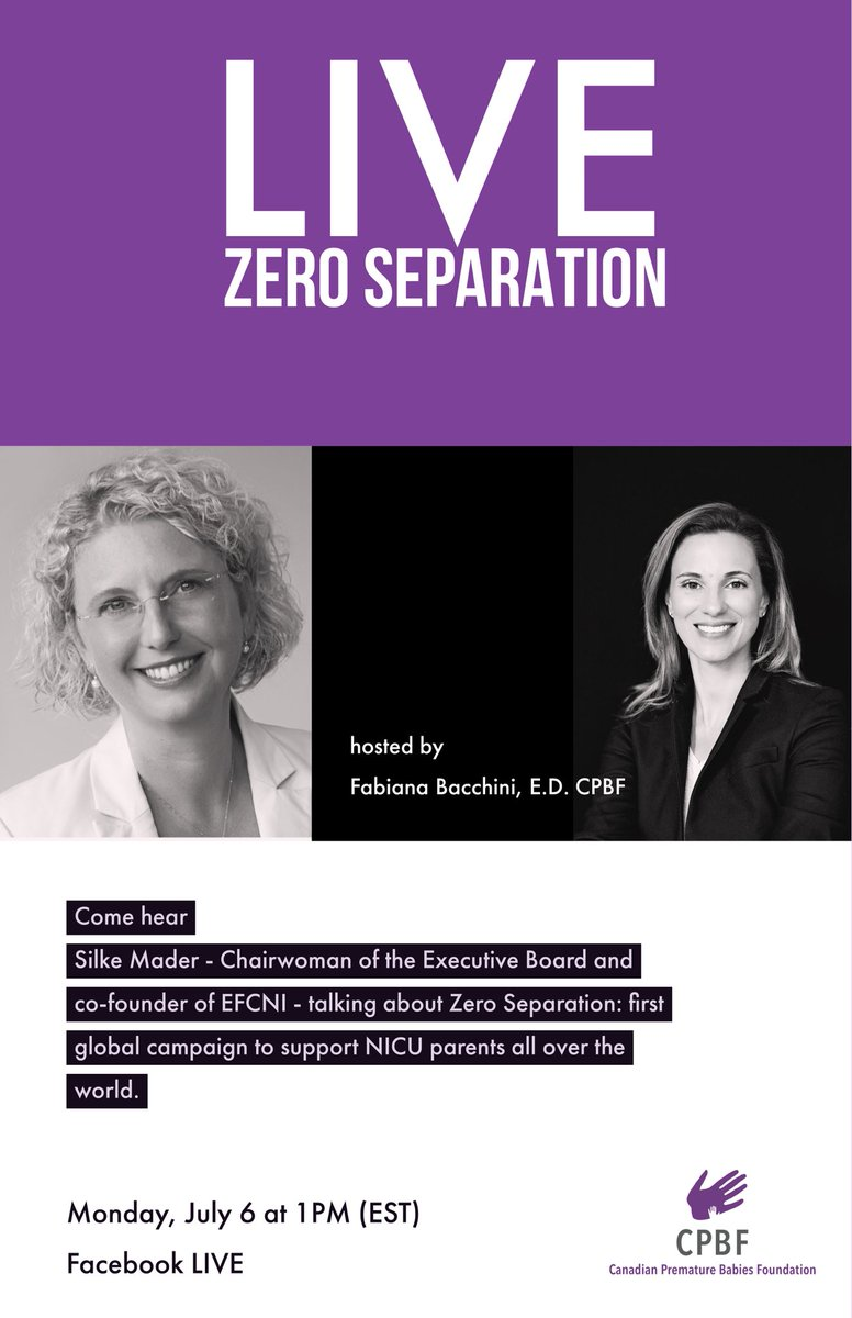 💜LIVE: Zero Separation💜 Monday July 6 at 1 pm (est) on Facebook. . Fabiana Bacchini from CPBF talks with Silke Mader - Chairwoman of the Executive Board and co-founder of @EFCNIwecare - about Zero Separation: first global campaign to support NICU parents all over the world. https://t.co/Bl54F8nvoQ