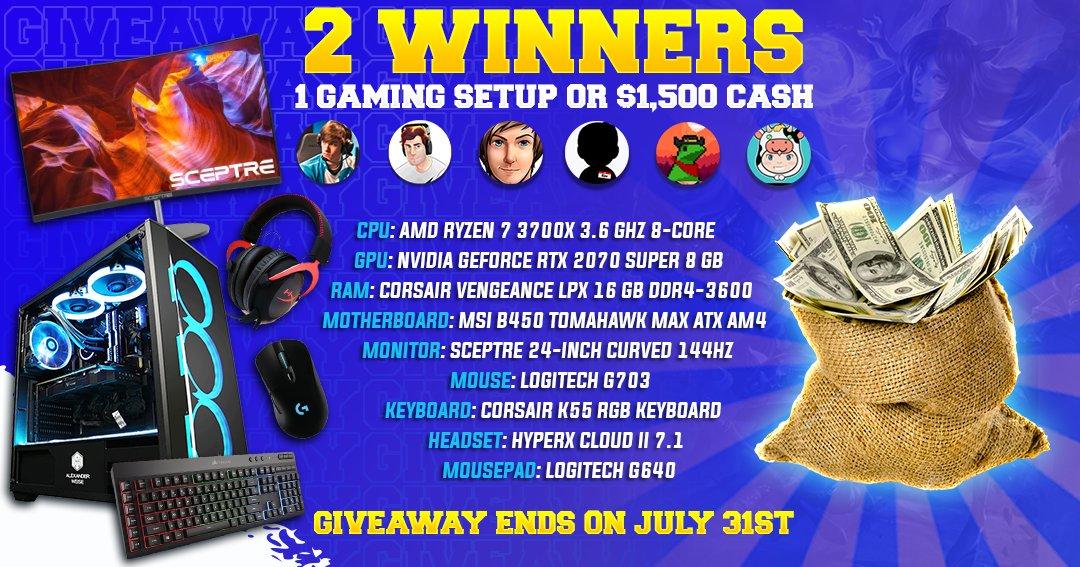 ~ GLOBAL GIVEAWAY | ANYONE CAN WIN | 2 WINNERS ~ >> NEW GAMING SETUP OR $1,500 CASH <<  TEAM: @TheGlacierr @Ravloltv @RossBoomsocks @IKeepItTaco @Cowsep  LINK: https://giv.gg/ciz4UP pic.twitter.com/atC8BxzFWU  — Michael Kurylo (@BunnyFuFuu) July 5, 2020