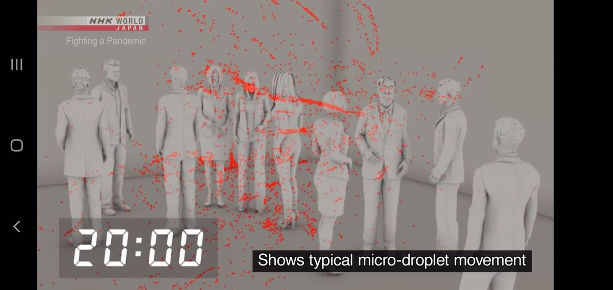 This simulation shows even 20 min after single cough, microdroplets spread throughout a classroom size space and linger in air, waiting to be inhaled  Experts are sounding the alarm that the virus is airborne and current guidance is insufficient  Video:   https://t.co/vkM4GJtxKW https://t.co/NI6TiAclgO