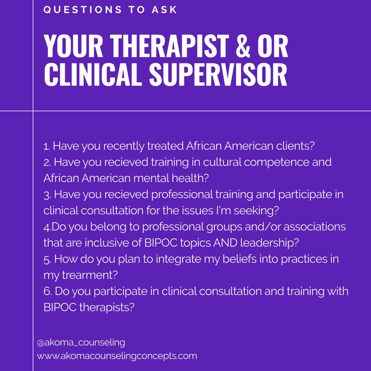"I saw the  @NAMICommunicate #BlackMentalHealth guide and I expanded on their ""Questions to Ask When Locating an Antiracist Provider"" with 4 extra questions.  These questions are inclusive of #therapy and supervisors. #thread  1. Have you recently treated African American clients? https://t.co/kS33aGu4zD"