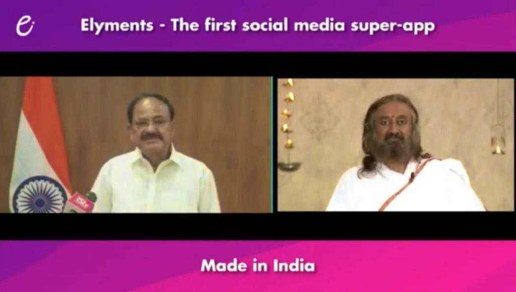 India's first social media super app- Elyments launched by Shri @MVenkaiahNaidu, Honorable Vice President of India. #ElymentsSuperApp made by a team of more than 1000 volunteers of @ArtofLiving is dedicated to the nation. https://t.co/KShxrQAyPl https://t.co/nUeUDXtkPy