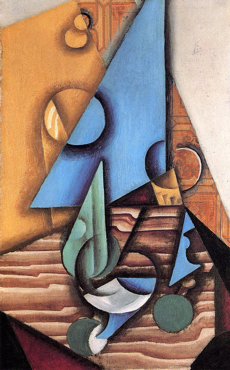 Bottle and Glass on a Table, 1914 #syntheticcubism #spanishart<br>http://pic.twitter.com/D4YHOwAHuE