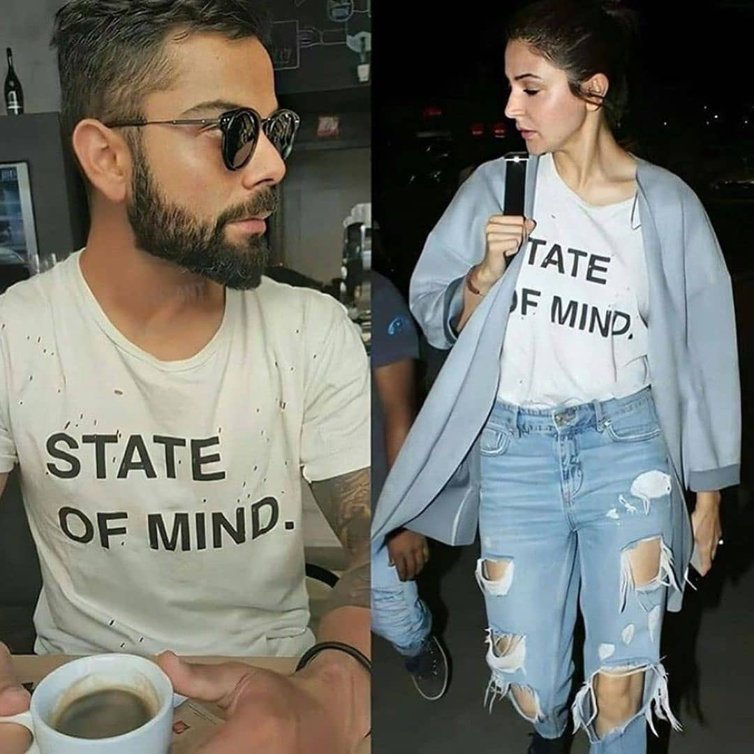 Sharing is caring... at least that's what #ViratKohli and #AnushkaSharma go by. <br>http://pic.twitter.com/UK1zDzrCQ6