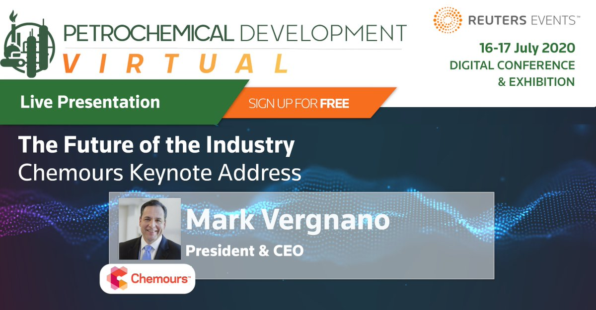Hear Mark Vergnano's vision for the future of the industry, only at #PetDev2020. A completely free-to-attend digital conference & exhibition - Sign up for free here https://t.co/66OlfygnEO  #Sustainability #Petrochemicals @chemours https://t.co/d0x6YNBI4A