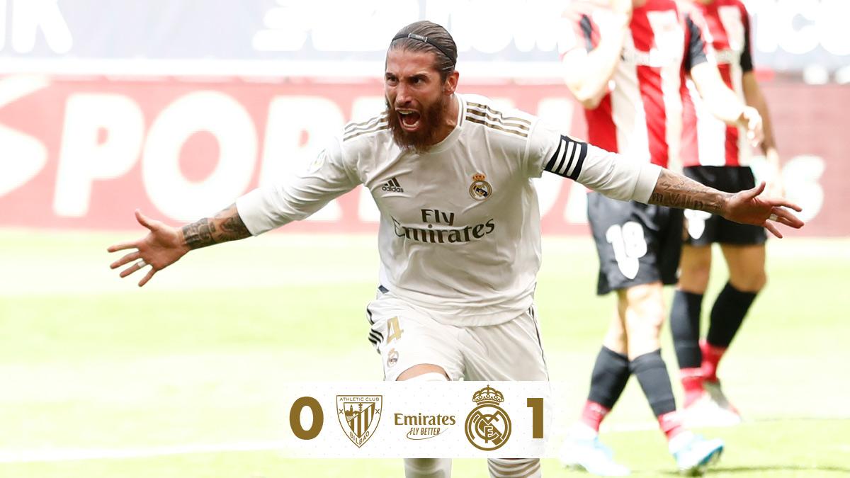 🏁 FT: @Athletic_en 0-1 @realmadriden  ⚽ @SergioRamos 73' (p) #Emirates | #RMLiga https://t.co/4G1nu31z2w