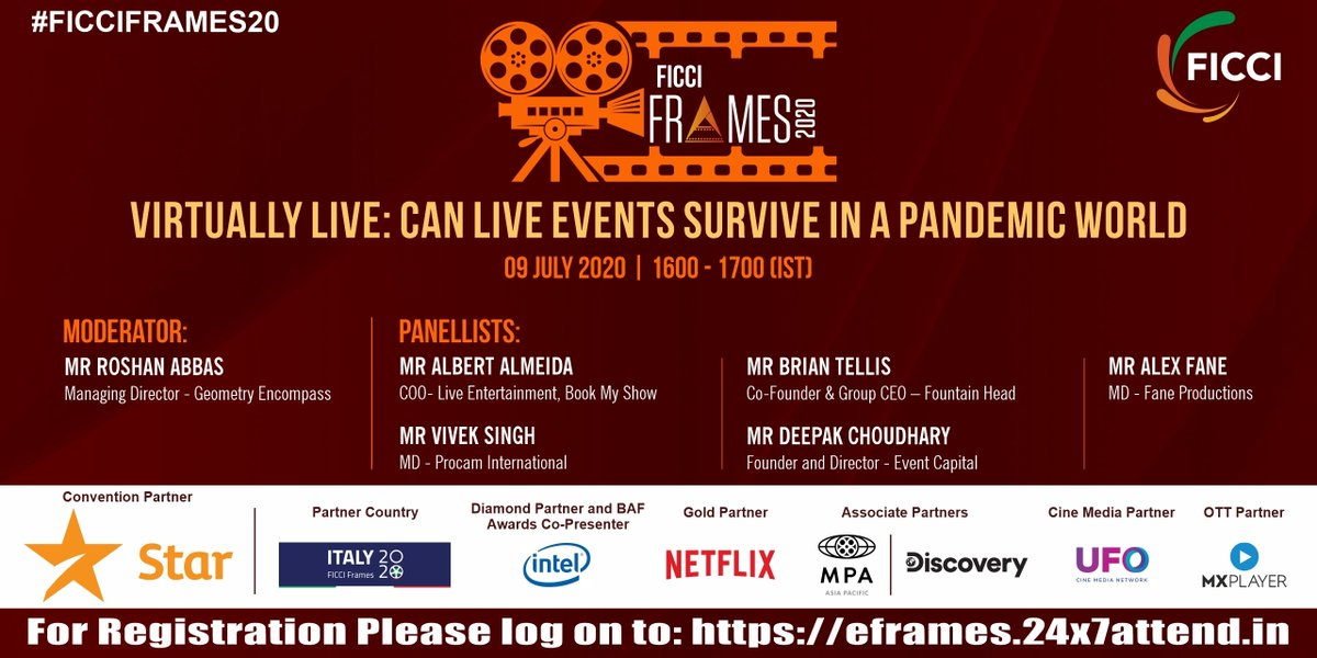 Mr @roshanabbas, Mr Albert Almeida, Mr @Brian_Tellis, Mr @vivekprocam, Mr Deepak Choudhary & Mr Alex Fane will discuss the survival of live events in the pandemic world at #FICCIFRAMES20 on 9 July 2020 at 1600 hrs (IST). To join, register at https://t.co/rBE1N8lwJh. #FICCIFRAMES https://t.co/M0FTUkrLXO