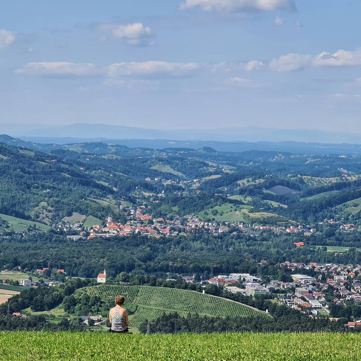 Resting With a View  #sunnyday #hiking #rest #peace #panorama #rooftops #skislope #Pohorje #skiingresort #summer #view #Maribor #styria #Slovenia #EU #europe #life #joy #woman #people #hills #hike #tour #nature #beauty #ThisIsSlovenia #visitslovenia