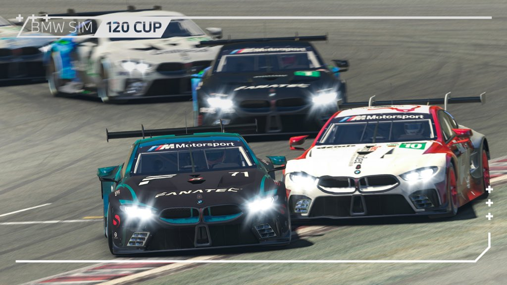 What a shame! A collision with a lapped car put the leading @TeamRedlineSim BMW M8 GTE with @AlexThiebe out of the race.  Now we have a @WilliamsEsports 1-2-3-4!  #BMWSIM https://t.co/Q3aHlT2ii1