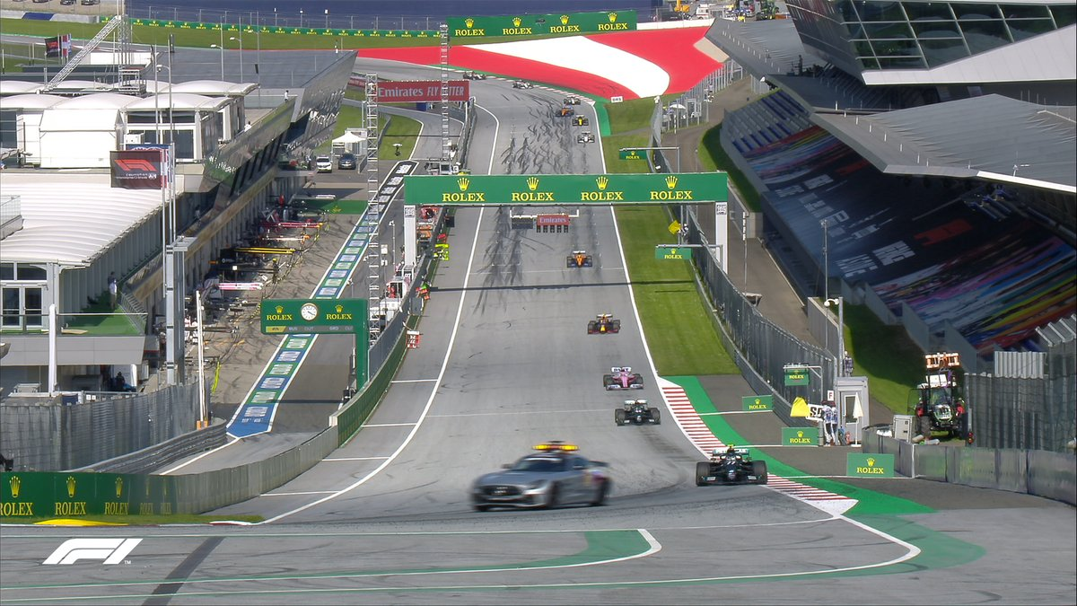 LAP 54/71 The Safety Car is coming in at the end of this lap Bottas leads from Hamilton, then its Perez from Albon - the Red Bull driver has strapped on a fresh set of tyres. #AustrianGP 🇦🇹 #F1