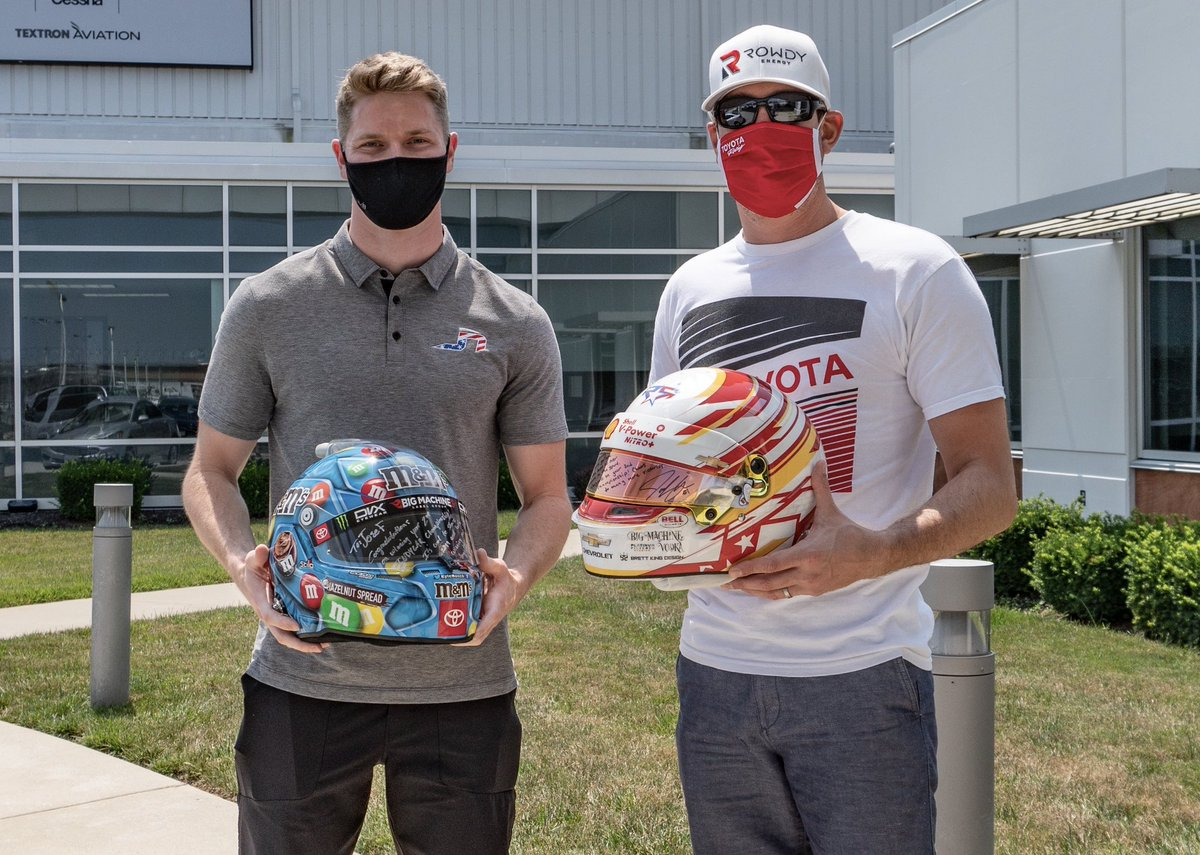 I've not done many helmet swaps, but this is a very cool book mark for me. In 2019 @kylebusch and I both become 2X champs. I have great respect for Kyles talent behind the wheel of a race car and hopefully we'll get the opportunity to compete against each other in the future!