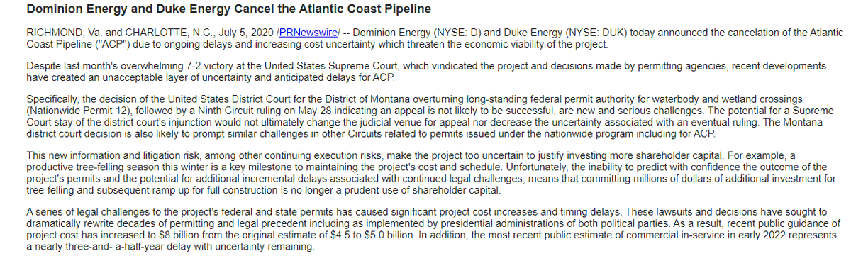 #BREAKING: Dominion Energy and Duke Energy CANCEL Atlantic Coast Pipeline Project. @CBS19News