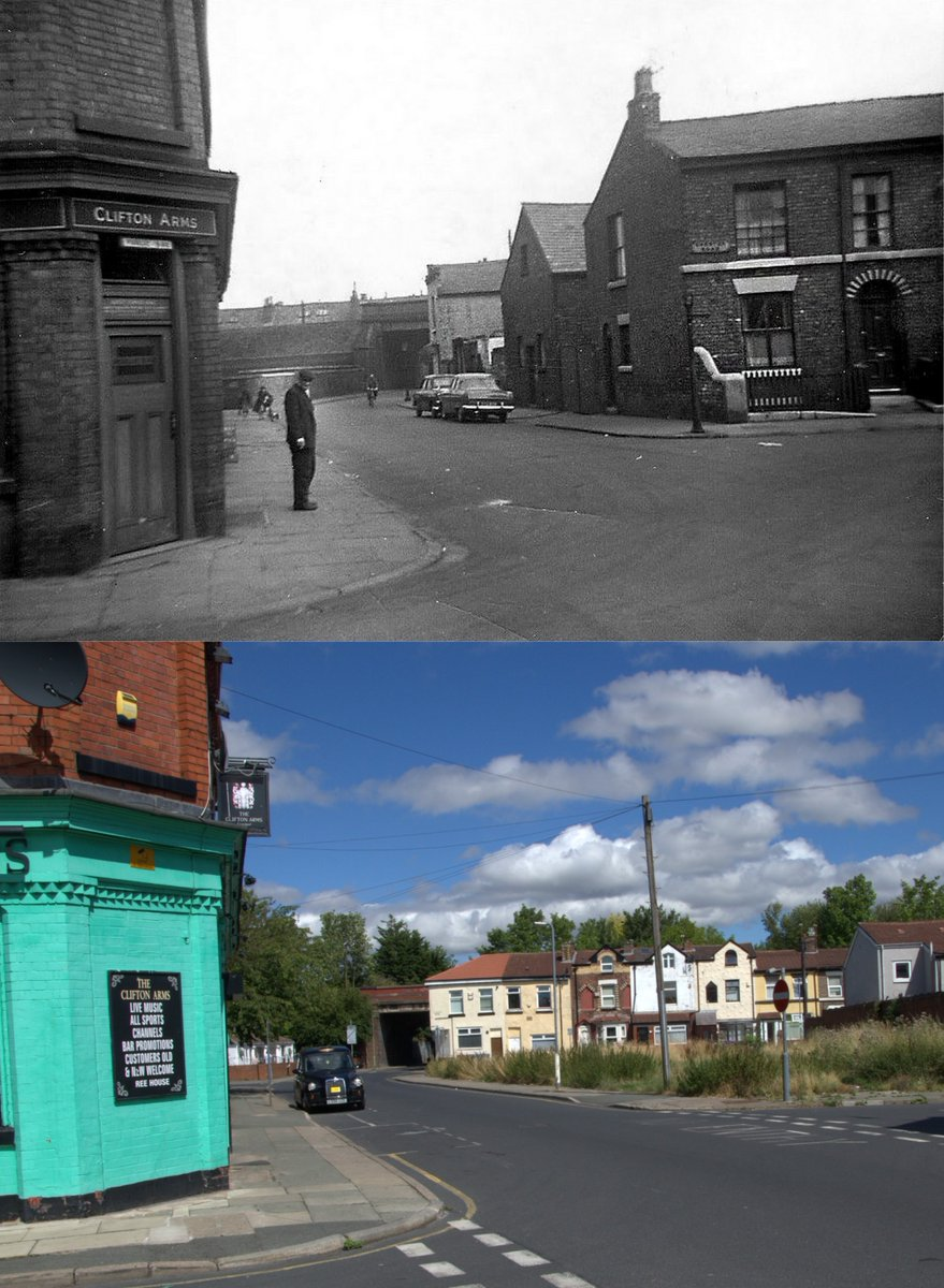 Clifton Road East, Tuebrook, 1960s and 2018