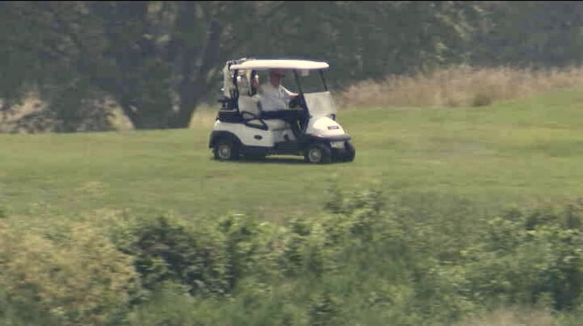 All this hysteria about a silly little flu (thats already killed 130,000 Americans, almost certainly a drastic undercount.) But fear not: Dear Leader is working tirelessly on a national strategy from the secret mobile lab at his golf course in Sterling VA. [photo via @CBSNews]