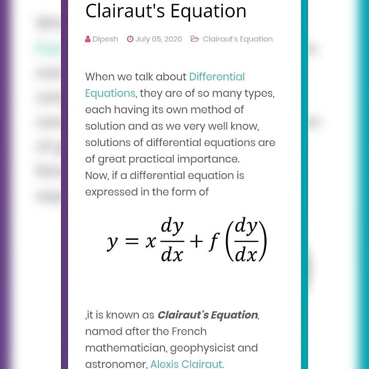 Want to learn a special type of Differential Equation? The Clairaut's Equation. https://broadenthyhorizons.blogspot.com/  #differentialequations #beautyofmathematics #mathblog #maths#mathematics#mathematicians #mathskills #followme #likeforlike #like4like #follow4follow #followforfollow #f4fpic.twitter.com/OtowFnhRjE