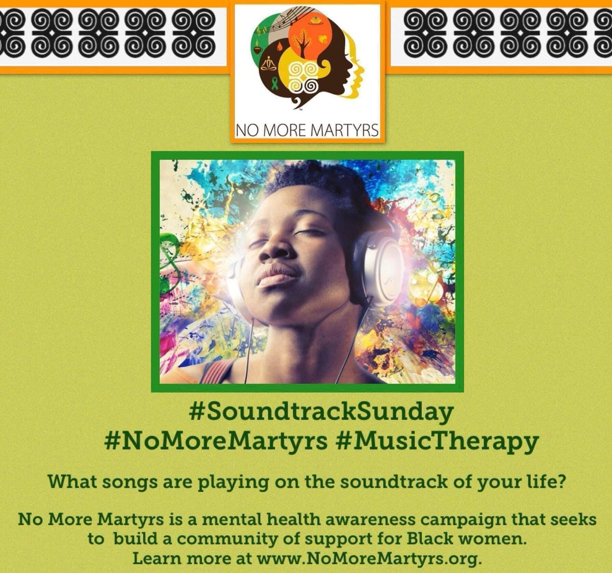 Happy #SoundtrackSunday No More Martyrs family!  What songs are playing on the soundtrack of your life today?  #NoMoreMartyrs #BlackMentalHealth #BlackWomen #BlackGirls #MentalHealth #SoundtrackSunday #MusicTherapy https://t.co/RXmp0NQPiz