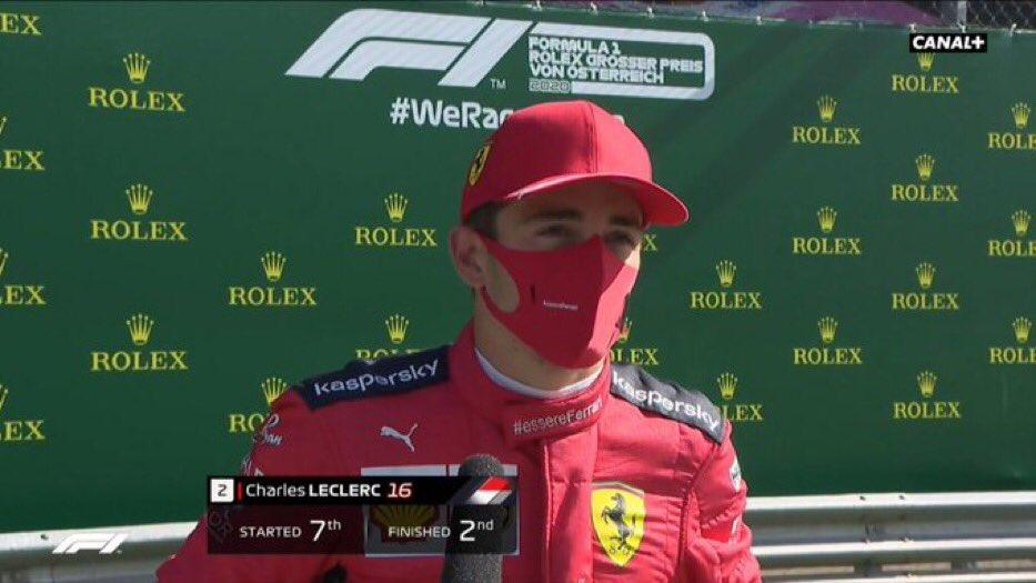 Il est là le pilote du jour , partant P7 avec une voiture qui n'avance pas il a su rester calme et saisir la bonne opportunitée pour finir P2 ✅   Bravo @Charles_Leclerc 🔥   #F1 #F12020 #Formule1 #Charles16 #CL16 #Ferrari #essereFerrari #Leclerc #AustrianGP 🇦🇹 https://t.co/HqeePcuddq
