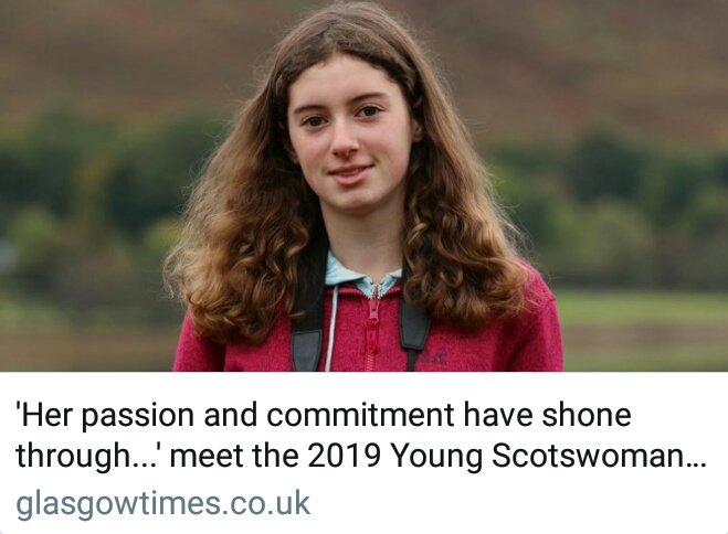 Id like to say how honoured and grateful I am to have been awarded Young Scotswoman of the Year after a public vote. Thank you to the Glasgow Times for giving me a platform, and thank you most of all to all of you who voted for me. 💚