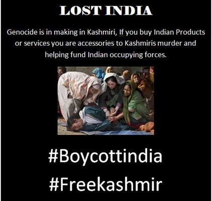 All the civilized people of the world must #BoycottIndia https://t.co/IgtWYUzoK3